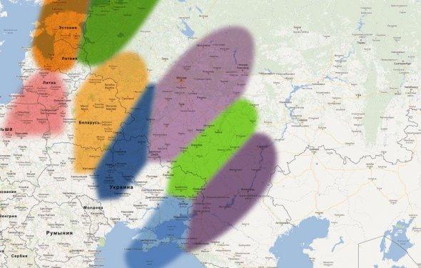 Зоны покрытия спутников